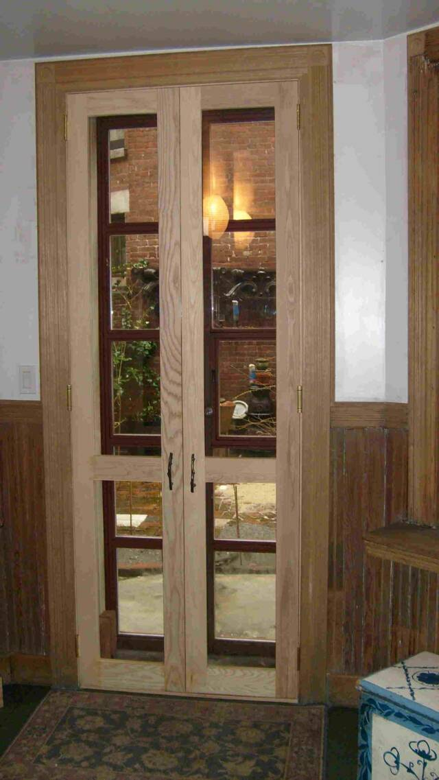ash screen doors made by us for a manhattan townhome the rift white oak casement molding surrounding the door frame was recreated to historic